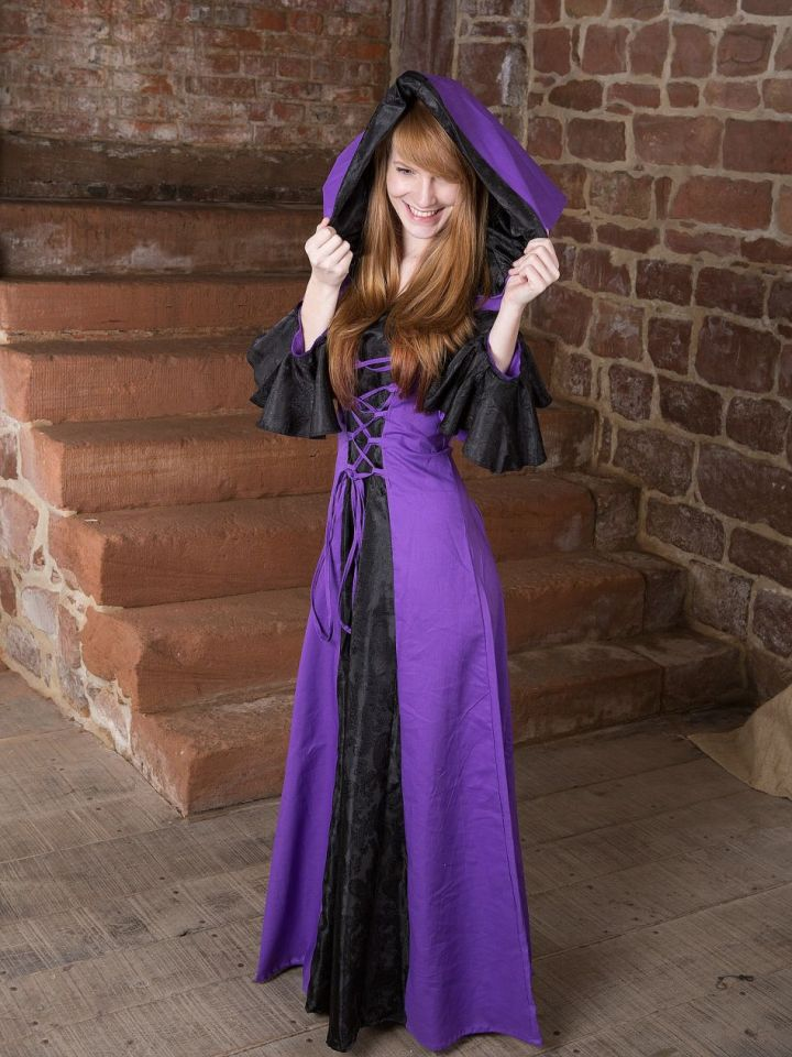 Robe médiévale Clara en noir et lilas 38 5