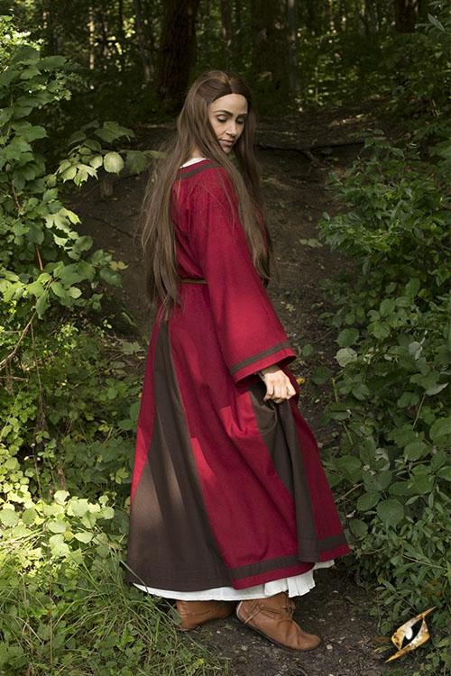 Robe médiévale Astride bicolore en marron et rouge 5