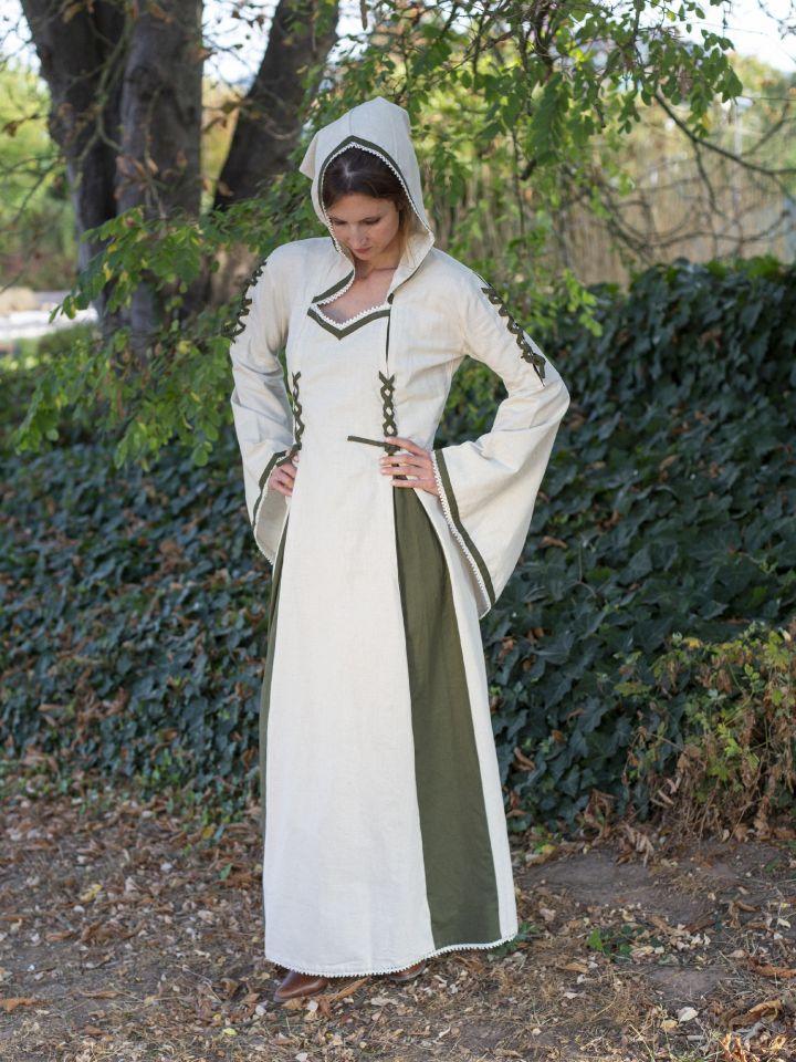 Robe médiévale bicolore à capuche en écru et vert olive 5