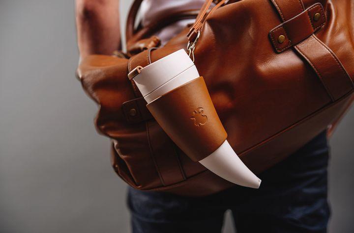 """Tasse à café """"corne à boire"""" en marron & blanc 5"""