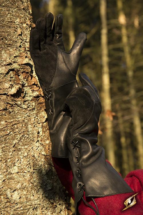 Gant de fauconnier en cuir noir - imitation 5