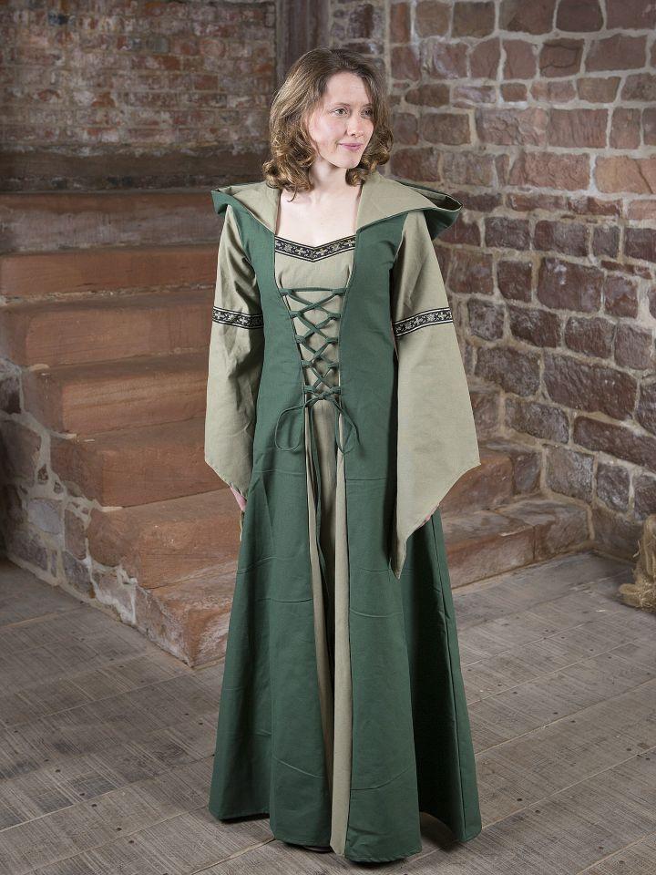Robe médiévale Irmel en vert olive 5