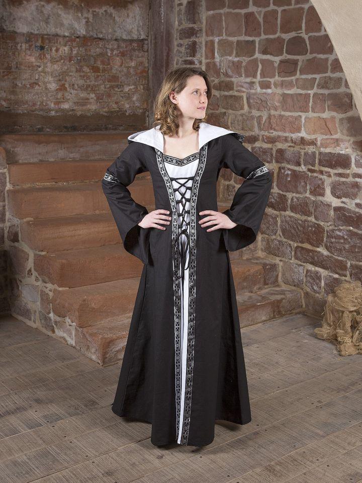 Robe médiévale Brida en noir et blanc 5