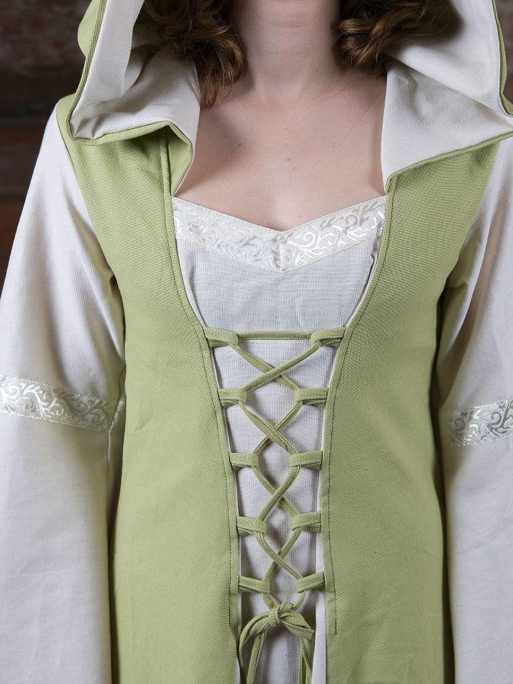 Robe Médiévale Irmel en citron-vert et blanc 5