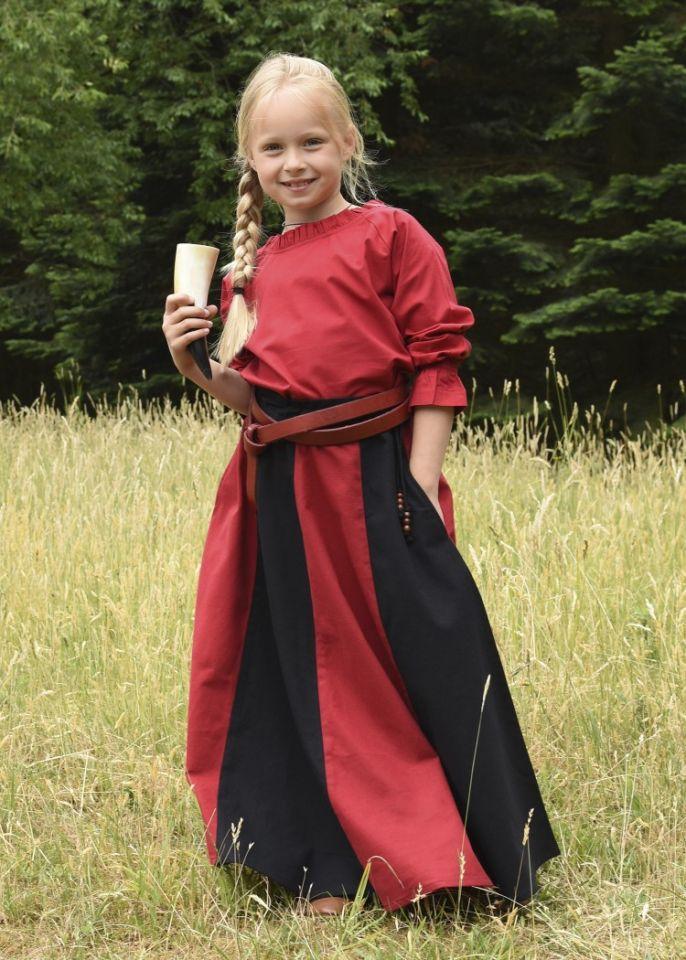 Jupe médiévale pour enfant, rouge et noire 6