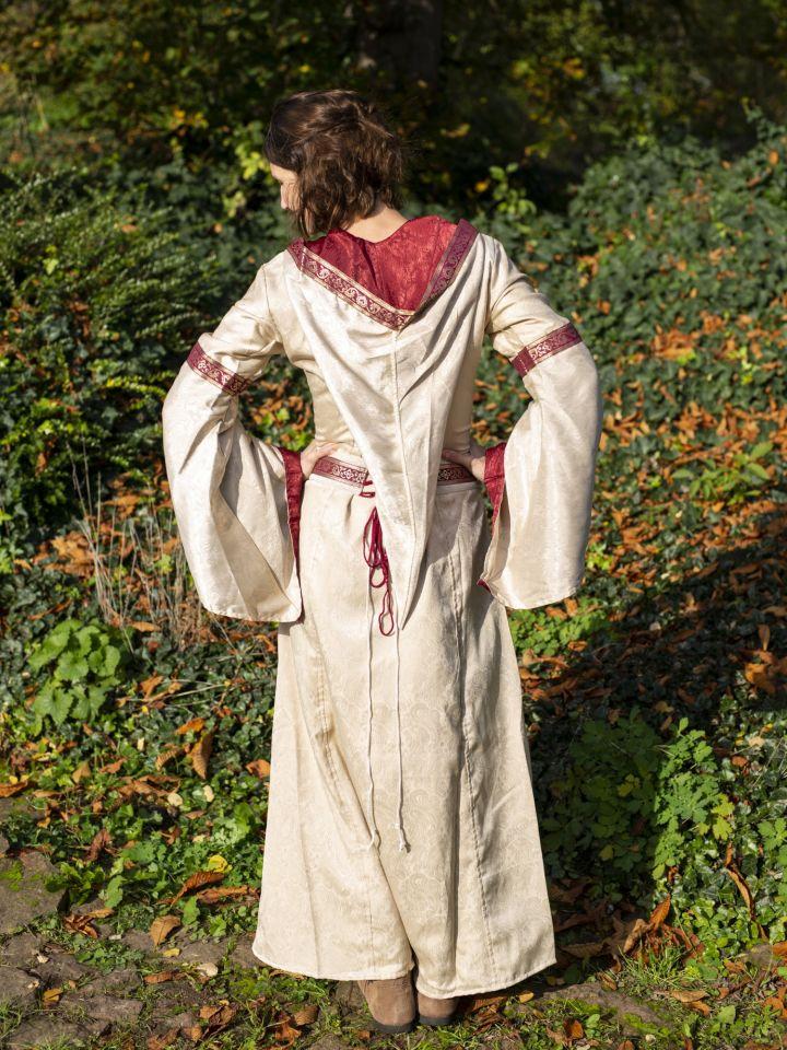 Robe à capuche avec ceinture en bordeaux-nature 6