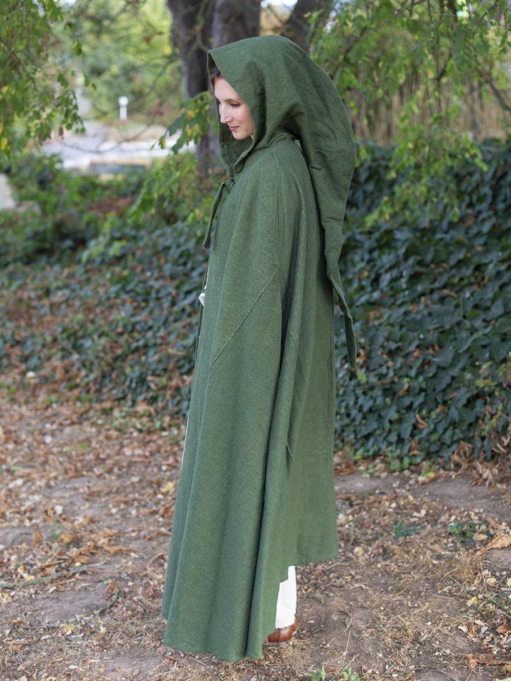 Cape en coton rustique en vert à longue capuche 6