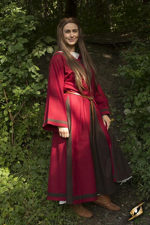 Robe médiévale Astride bicolore en marron et rouge 6