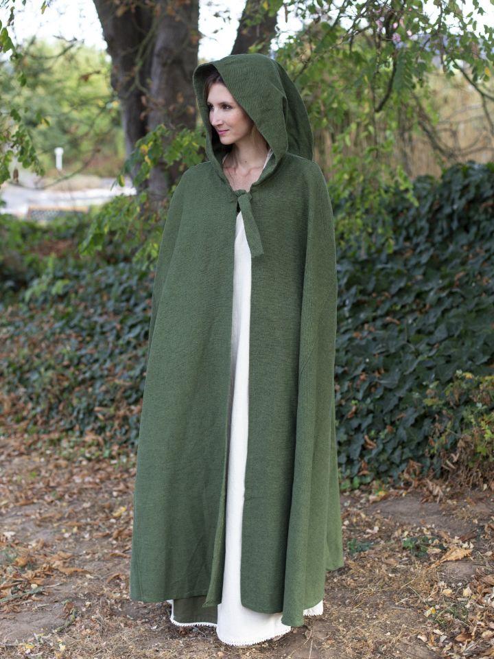 Robe médiévale bicolore à capuche en écru et vert olive 6