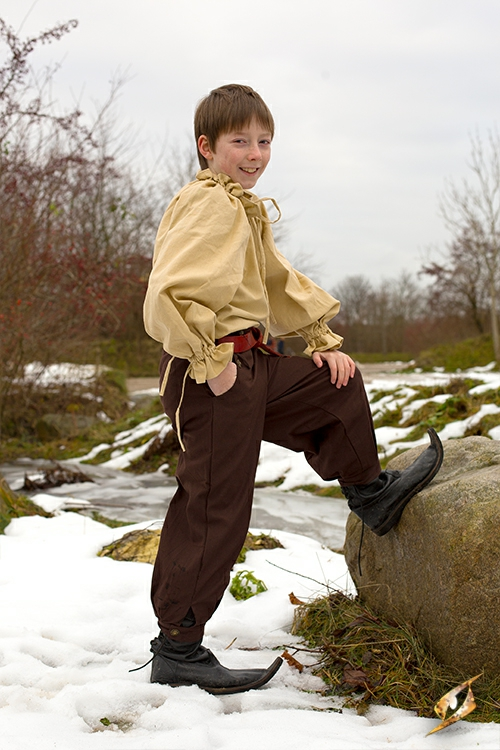 Pantalon en coton pour enfant, marron 6
