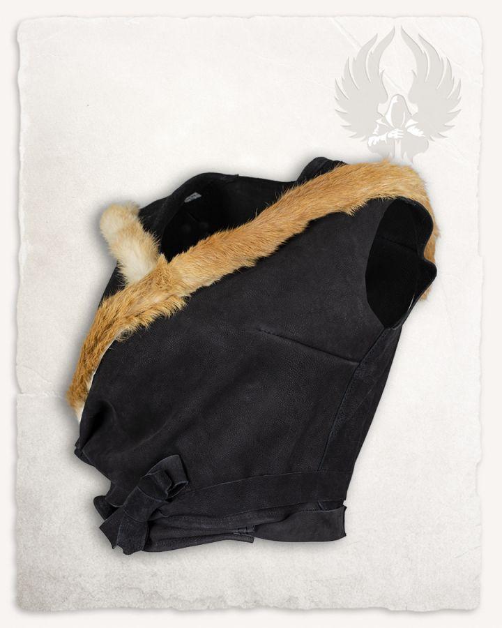 Veste à capuche en cuir noir 6