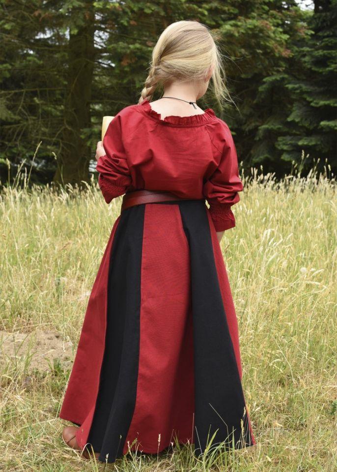 Jupe médiévale pour enfant, rouge et noire 7