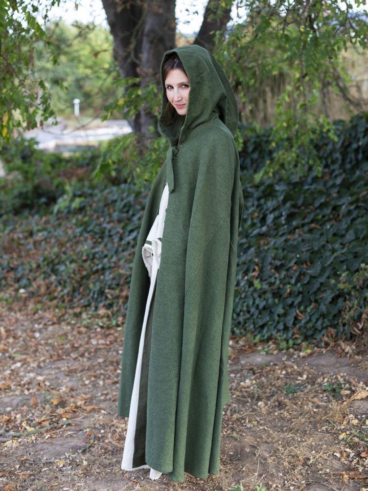 Cape en coton rustique en vert à longue capuche 7
