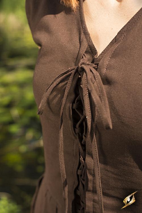 Robe légère à laçage, marron L 7
