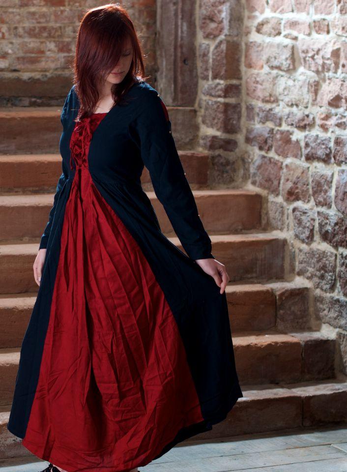 Robe médiévale en coton noire et rouge 7
