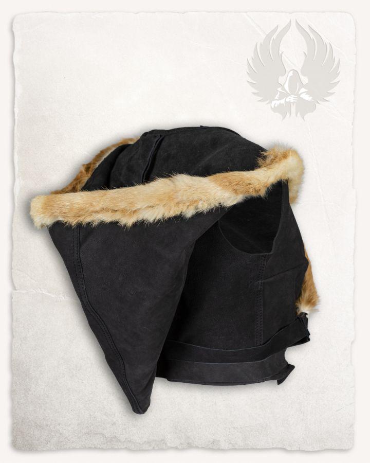 Veste à capuche en cuir noir 7