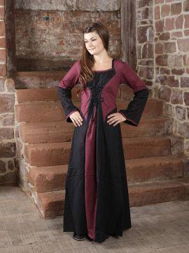 Robe médiévale bicolore (noire-bordeaux) S/M
