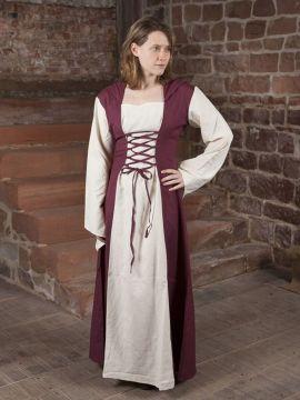 Robe médiévale avec capuche en rouge et naturel XXL