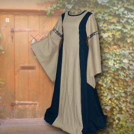 Robe médiévale Frieda en sable et marine 36 - 42