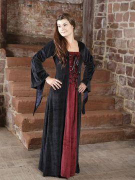 Robe de soirée en velours noir et rouge XS