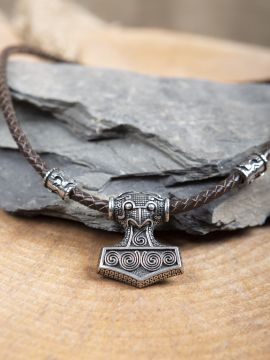 Pendentif cuir et Marteau de Thor