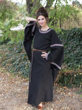 Robe Médiévale à galons, en noir M