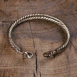 Bracelet Viking à Tête de loup bronze
