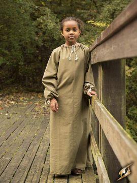 Chainse médiéval pour enfant en vert kaki 8-10 ans