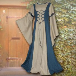 Robe médiévale Catherine sable et bleu clair 36 - 42