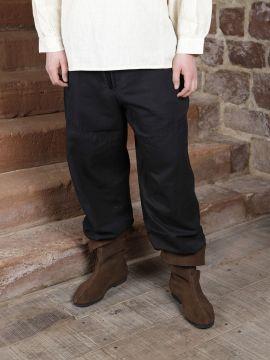 Pantalon médiéval en coton, avec poches XXL | noir