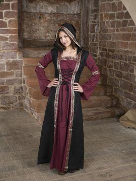 Robe bordeaux et noire, avec capuche et broderies S/M