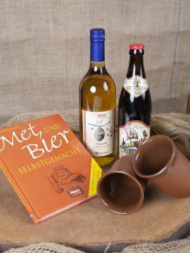Coffret cadeau hydromel, bière et 2 tasses en argile