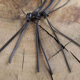 Lacet de cuir de forme ronde ou carrée rond | noir