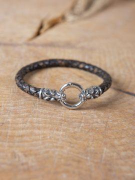 Bracelet en cuir tressé avec Têtes de dragons
