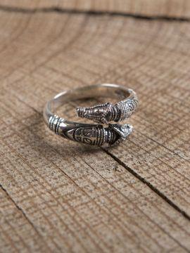 Bague viking têtes de dragon en argent petit