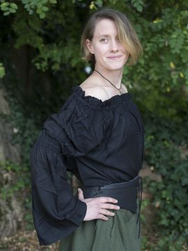 Blouse médiévale en viscose, noire L/XL