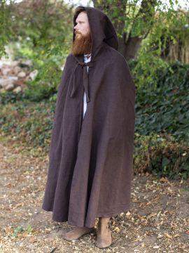 Cape en coton rustique en marron à longue capuche