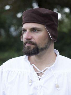 Bonnet médiéval en laine marron 58
