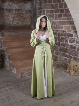 Robe médiévale Elsa en crème et vert clair 36