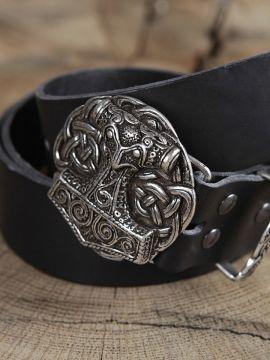 Ceinture en cuir avec boucle Marteau de Thor, en noir
