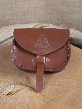 Sacoche de ceinture en cuir triskele en marron