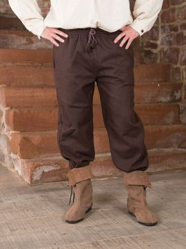 Pantalon médiéval en laine, marron XL