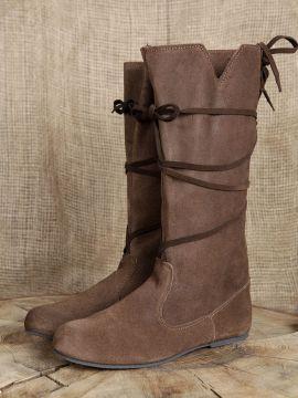 Bottes médiévales en cuir chamoisé à lacets pour femme 39   marron