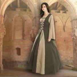 Robe médiévale Fabienne en vert olive et sable 44 - 48