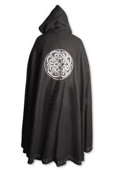 Cape en laine à motifs celtiques unisexe noir