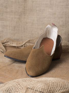 Chaussures médiévales, semelle en caoutchouc, marron 36