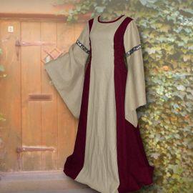 Robe médiévale Frieda en sable et bordeaux 36 - 42