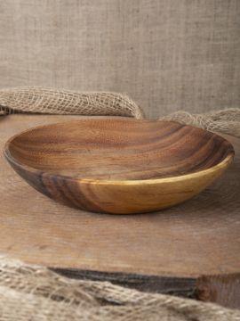 Assiette à soupe ronde en bois d'acacia