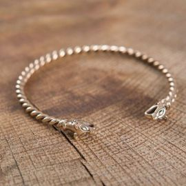 Bracelet Viking à Tête de loup 4mm bronze