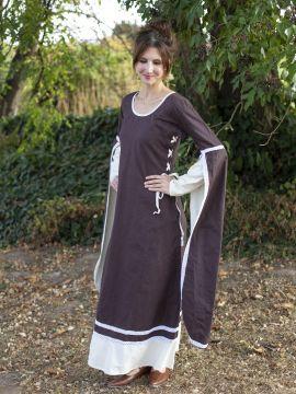Robe médiévale manches flottantes, marron/écru S/M